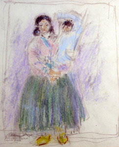 "Leon Gaspard, Taos, Mother and Child, Sketch Book, Color Crayon and Pencil on Paper, 8"" x 6"""