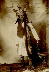 "Geronimo with Feathered Headdress, Ft. Marion, c. 1890, 5.25"" x 3.75"""