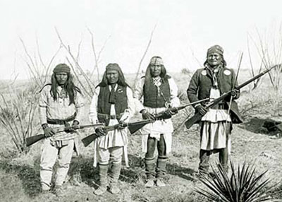 C. S. Fly, Geronimo's brother in law, Yanzha, Chappo, second cousin, Fun and Geronimo 1886, courtesy Printroom.com Photography