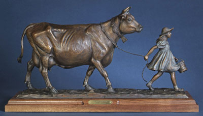 "Veryl Goodnight, Country Living, Bronze Edition of 21, 14"" x 27"" x 5"""