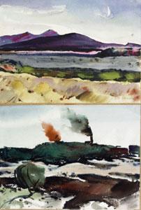 "Arthur Earl Haddock, Double Sided Watercolor, Wallace California, Fort Bragg, 10"" x 14"""