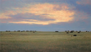 "Jeff Aeling, Sunset West of Lamy, New Mexico, Oil on Panel, 18"" x 30"""
