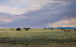 "Jeff Aeling, Twilight West of Lamy, New Mexico, Oil on Panel, 30"" x 48"""