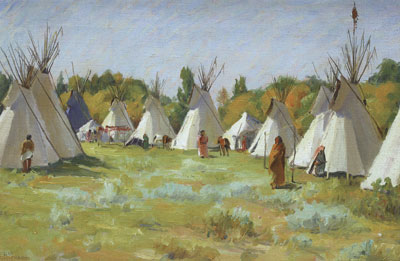 "Joseph Henry Sharp (1859-1953) Blue Teepee, undated, oil on canvas, 12.25"" x 18.25"""