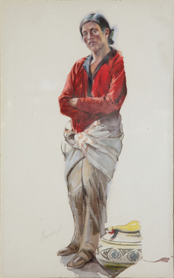 Joseph Imhoff (1871-1955) Untitled Illustration of a Pueblo Man named 'Luis' of Toas Pueblo, watercolor on paper, circa 1950, 16 by 9.25 inches