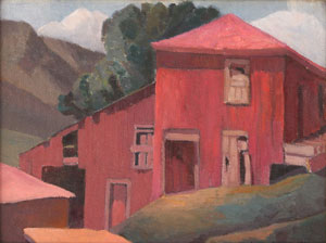 "Anna Elizabeth Keener, Red Barn, Circa 1941, Oil on Canvas Board, 12"" x 15.5"""