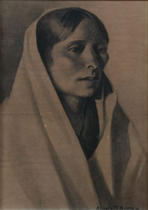 "Kenneth Adams, Taos Indian Woman, Charcoal, 13"" x 9"""