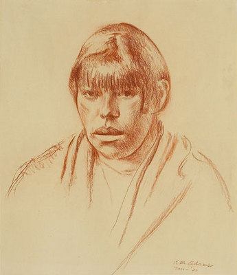 "Kenneth Miller Adams (1897-1966), Taos Woman, circa 1926, Conte Crayon on paper, 14"" x 12"""
