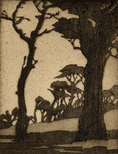 "Gene Kloss, Carmel Evening, Etching, 5.5"" x 4.5"""