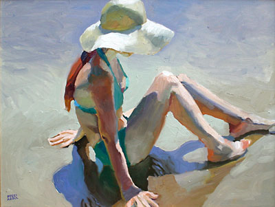 "Peggi Kroll-Roberts, Figure with Beach Hat, Oil on Canvas, 18"" x 24"""