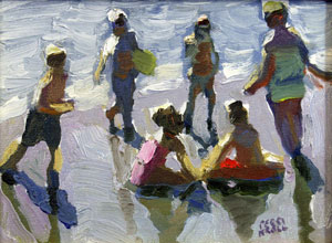 "Peggi Kroll-Roberts, Laguna Bathers, Oil on Canvas, 6"" x 8"""