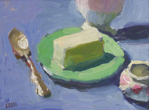 "Peggi Kroll-Roberts, Butter on Green Plate, Oil on Canvas, 9"" x 12"""
