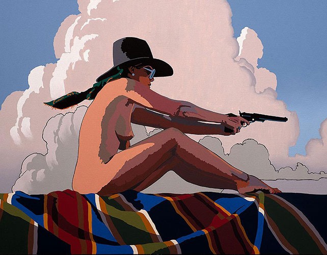 "Billy Schenck, The Woman Who Shot Liberty Valance, oil on canvas, 35"" x 45"""