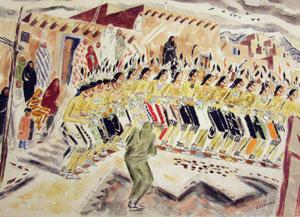 "John Ward Lockwood, Pueblo Dancers, Watercolor Collage, Circa late 1920, early 1930, 20"" x 27"""
