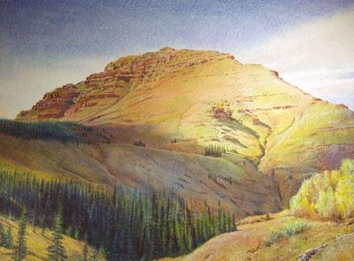 """Merrill Mahaffey, Autumn Mountain, Acrylic on Canvas, 46"""" x 64"""""""