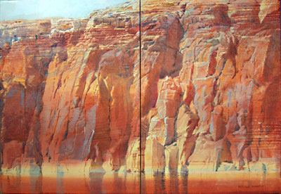 """Merrill Mahaffey, Channel Entrada Diptych Part I and Part II, Acrylic on Canvas, 30"""" x 44"""""""