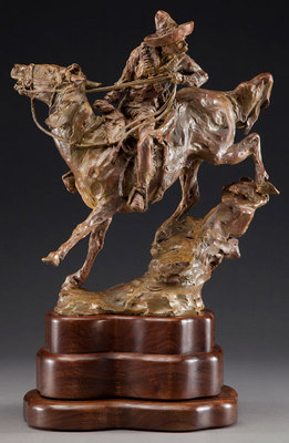 "Jan Mapes, Closin' the Gap, Bronze Edition of 15, 7.5"" x 13"" x 13.75"""