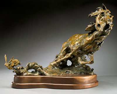 "Jan Mapes, Hare Triggered, Bronze Edition of 15, 11"" x 20"" x 23"""