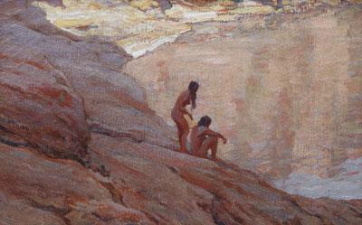 "Maynard Dixon (1875-1946) The Pool, undated, oil on canvas, 9"" x 14"""