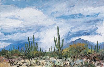 "Louisa McElwain, Desert Cloudburst, Oil on Canavs, 54"" x  84"""