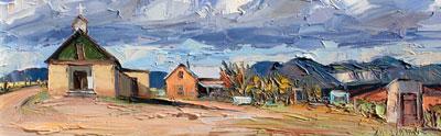 "Louisa McElwain, La Plaza de Santa Theresa, Oil on Canavs, 12"" x  36"""
