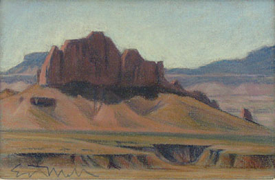 """Ed Mell, Butte, Pastel, 7"""" x 10"""""""