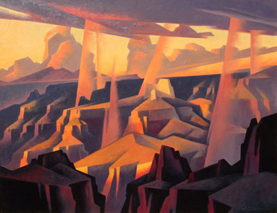 "Ed Mell, Rain Spears, Grand Canyon, Oil on Canvas, 24"" x 32"""