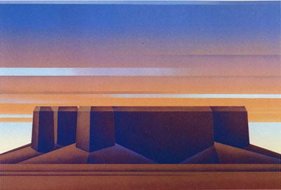"Ed Mell, Flat Mesa, Lithograph 34/100, 22"" x 30"""