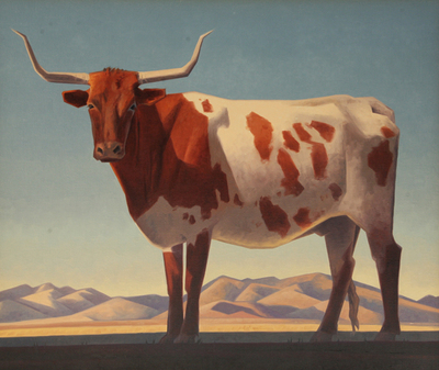 "Ed Mell, Patagonia Longhorn, Oil on Canvas, 34"" x 40"""