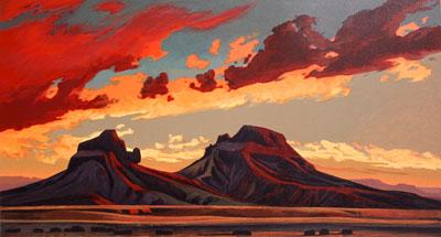 "Ed Mell, Volcanic Desert, Lithograph, 27"" x 38"""