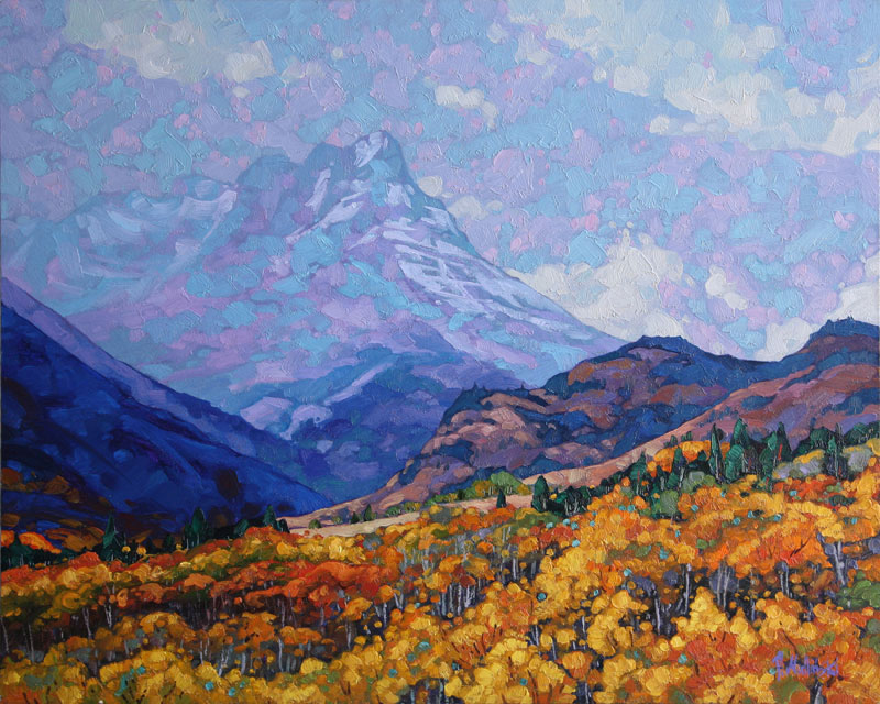 "Dominik Modlinksi, Fall in Waterton Park, Oil on Panel, 24"" x 30"""