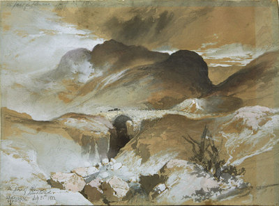 "Thomas Moran, The Pass at Glencoe, Scotland, Mixed Media, September 25, 1882, 10"" x 14"""