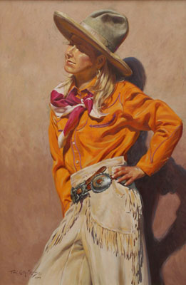 "Terri Kelly Moyers, Pendleton Girl, Oil on Canvas, 36"" x 24"""