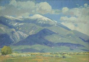 """Datus Myers, Taos Mountain, Oil on Panel, 12"""" x 16"""""""