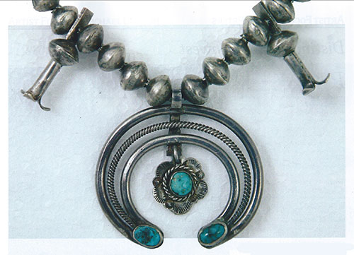 "Navajo silver and turquoise squash blossom necklace, ca. 1920, 1.875""x2.875"""