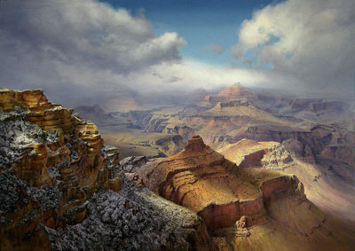 "P. A. Nisbet, Storm Break at Yaki Point, Oil on Canvas, 48"" x 68"""