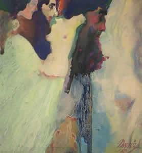 "Maynard Dixon (1875-1946) Nvorczk, Nude, c. 1923, Gouache, 8.75"" x 8"""