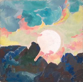 "Maynard Dixon (1875-1946) Moonrise, c. 1934, Gouache 5.25"" x 5.25"""