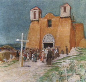 "Oscar E. Berninghaus (1874-1952), Church at Ranchos de Taos, 1920, oil on canvas, 28"" x 28"""