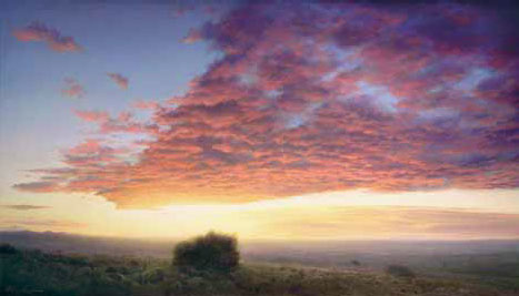"P. A. Nisbet, Red Dawn, Oil on Canvas, 24"" x 42"", courtesy the artist"