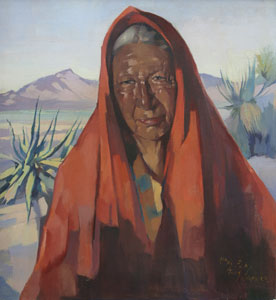 "Hans Paap, Indian of the Desert, Oil on Canvas, circa 1954, 22"" x 20"""