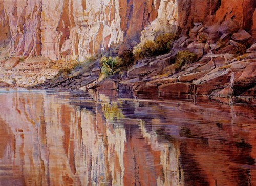 "Merrill Mahaffey, Canyon Reflection (1999), acrylic, 20""x84"""