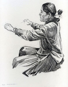 """Don Perceval, Navajo Weaver, Graphite on Paper, 11"""" x 9"""" Pictured on page 69 of """"A Navajo Sketch Book"""" by Don Perceval, 1962. Out of Print."""