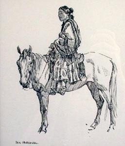 "Don Perceval, Sittin Pretty, Ink on Paper, 8"" x 7"""