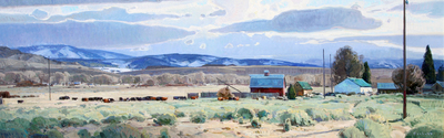 "Josh Elliott, Passing Clouds, Radersburg, Oil on Panel, 18"" x 54"""