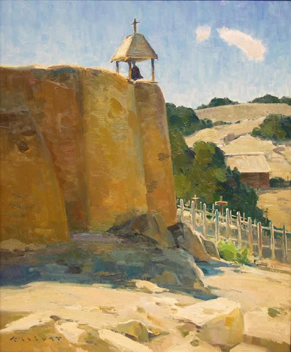 "Josh Elliott, Las Golondrinas Church , Oil on Panel, 24"" x 20"""