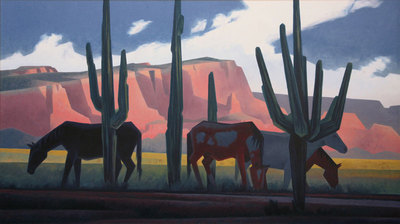 "Ed Mell, Saguaro Horses, Oil on Linen, 34"" x 60"""
