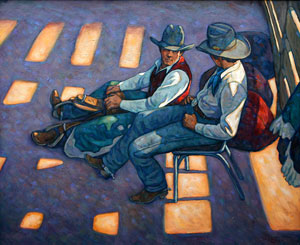 "Howard Post, Bronc Riders Under the Grand Stand, Oil on Canvas, 36"" x 44"""