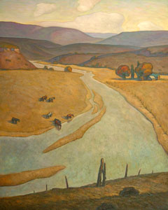 "Howard Post, Bend in the River, Oil on Canvas, 50"" x 40"""