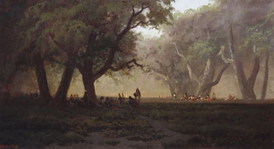 """Ransom Gillette Holdredge (1836-1899) Indian Council in Yosemite Valley, c. 1880, oil on canvas, 20.25"""" x 36.25"""""""